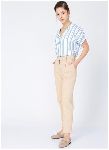 Fabrika Comfort Fabrika Comfort Gordes Mavi - Beyaz V Yaka Kadın Gömlek Mavi